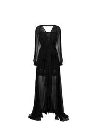 Vestido de noche de tul bordado negro de Versace
