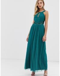 Vestido de noche de tul en verde azulado de Little Mistress