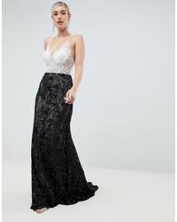 Vestido de noche en blanco y negro de Jovani