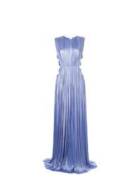 Vestido de Noche Plisado Celeste de Maria Lucia Hohan