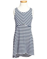 Vestido de rayas horizontales azul marino
