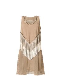 Vestido de tirantes de ante сon flecos marrón claro de Drome