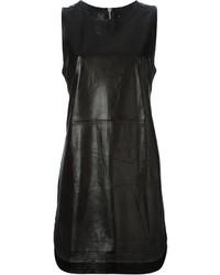 Vestido de tirantes de cuero negro