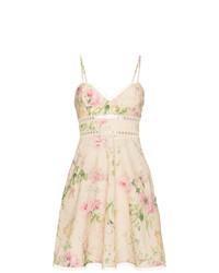 Vestido de tirantes de lino con print de flores en beige de Zimmermann