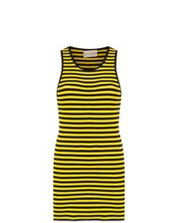 Vestido de tirantes de rayas horizontales amarillo de Andrea Bogosian