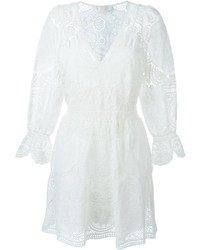 Vestido de vuelo bordado blanco de Chloé