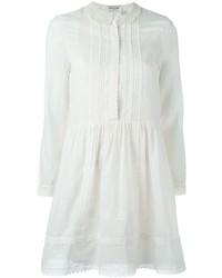 Vestido de vuelo bordado blanco de Saint Laurent