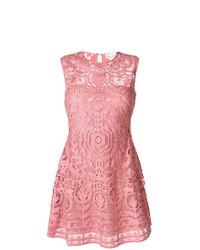 Vestido de vuelo bordado rosado de RED Valentino