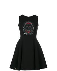 Vestido de vuelo con adornos negro de Philipp Plein