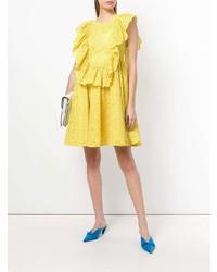 Vestido de vuelo con ojete amarillo de MSGM