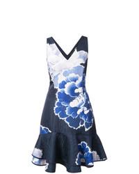 Vestido de vuelo con print de flores azul marino de Josie Natori