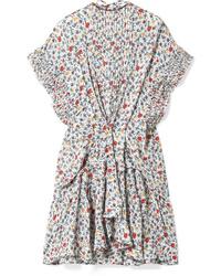 Vestido de vuelo con print de flores blanco de Chloé