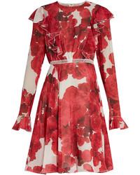 Vestido de vuelo con print de flores en blanco y rojo