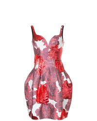 Vestido de vuelo con print de flores en blanco y rojo de Paule Ka