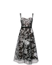 Vestido de vuelo con print de flores en negro y blanco de Marchesa Notte