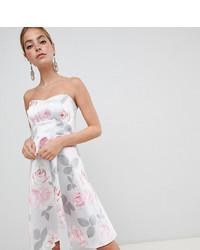 Vestido de vuelo con print de flores gris de City Goddess Petite