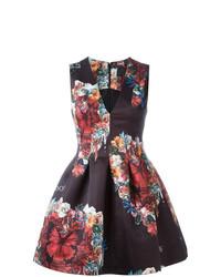 Vestido de vuelo con print de flores negro de Philipp Plein