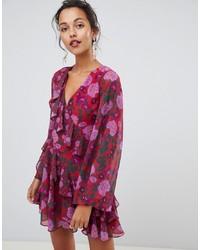 Vestido de vuelo con print de flores rosa de Keepsake