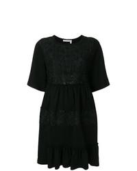 Vestido de vuelo de encaje con adornos negro de See by Chloe