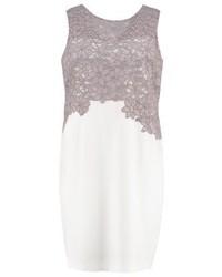 Vestido de vuelo de encaje con print de flores gris de Lauren Ralph Lauren Woman