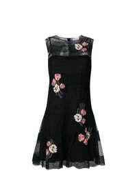 Vestido de vuelo de encaje con print de flores negro de RED Valentino
