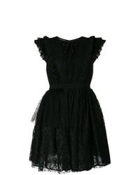 Vestido de vuelo de encaje negro de MSGM