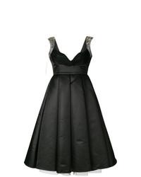Vestido de vuelo de satén negro de Philipp Plein