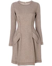 Vestido de vuelo de seda marrón claro de Ermanno Scervino