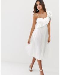 Vestido de vuelo de tul con volante blanco de ASOS DESIGN