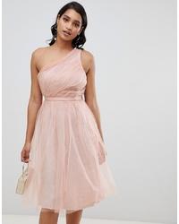 Vestido de vuelo de tul rosado de ASOS DESIGN