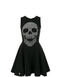 Vestido de vuelo estampado negro de Philipp Plein
