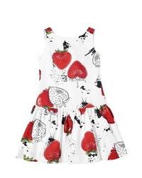 Vestido en blanco y rojo