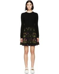 Vestido jersey con print de flores negro