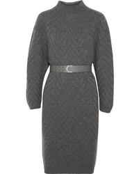 Vestido jersey de punto en gris oscuro de Fendi