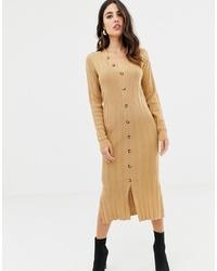 Vestido jersey de punto marrón claro de ASOS DESIGN