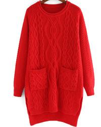Vestido jersey de punto rojo