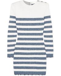 Vestido jersey de rayas horizontales en blanco y azul marino de Balmain