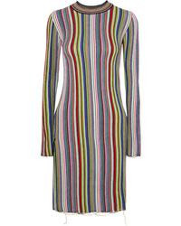 Vestido jersey de rayas verticales en multicolor de MARQUES ALMEIDA