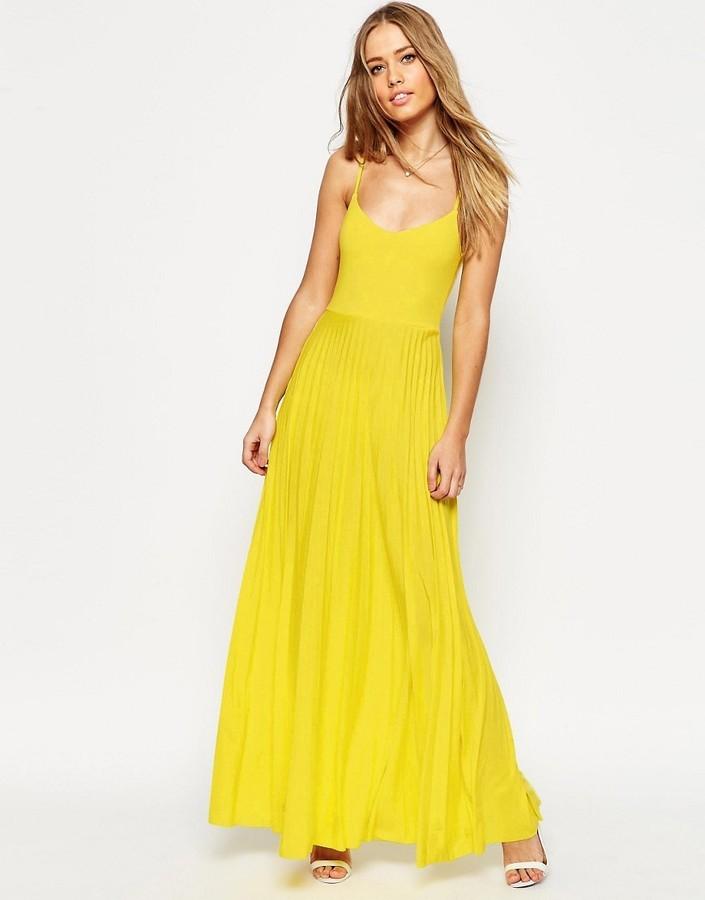 Vestido Largo Amarillo De Asos