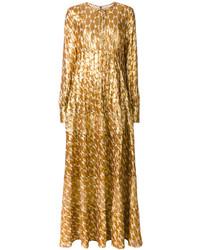 Vestido largo bordado dorado de Tory Burch