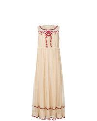 Vestido largo bordado en beige de RED Valentino