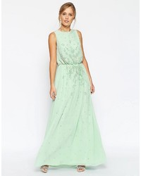 Vestido largo con adornos en verde menta de Asos