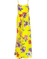 Vestido largo con print de flores amarillo