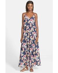 Vestido largo con print de flores azul marino