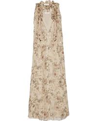 Vestido largo con print de flores en beige de Chloé