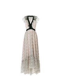 Vestido largo con print de flores en beige de Philosophy di Lorenzo Serafini