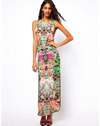 Vestido largo con print de flores en multicolor de Asos