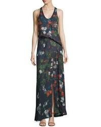 Vestido largo con print de flores en verde azulado