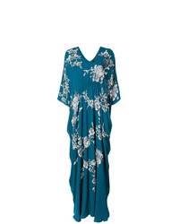 Vestido largo con print de flores en verde azulado de Josie Natori