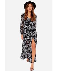 Vestido largo con print de flores negro